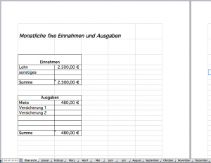 Monatliche fixe Kosten im Haushaltsbuch