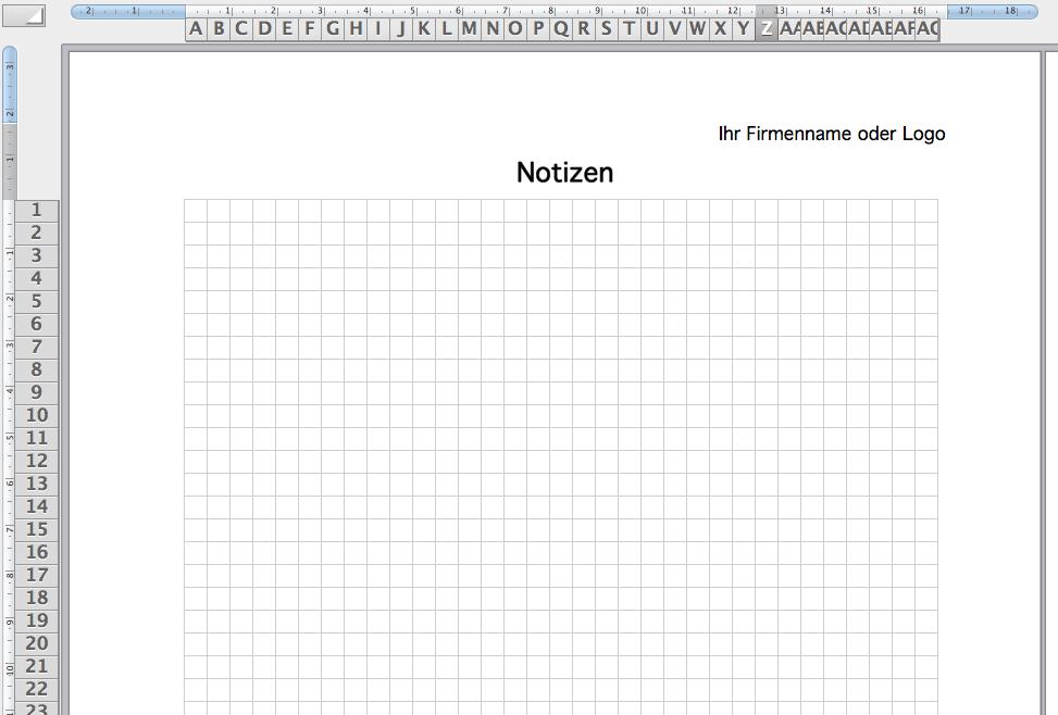 Kariertes Blatt als Excel-Vorlage | Excel Vorlagen für jeden Zweck