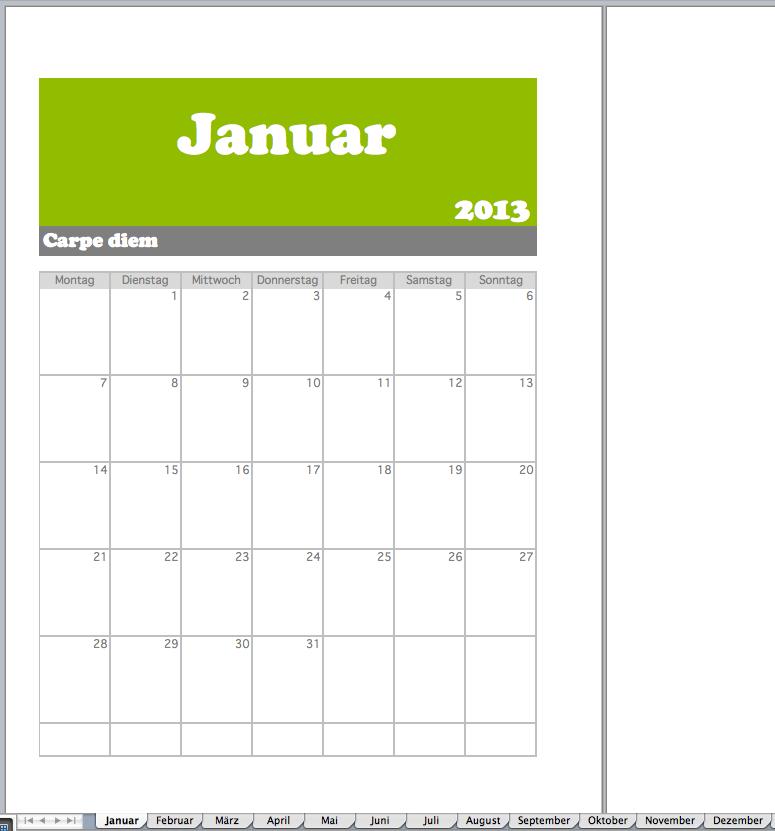 Monatsplan als Excel-Vorlage