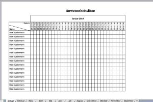 Anwesenheitsliste als Excelvorlage für 2014014