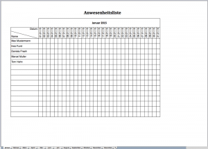 Anwesenheitsliste für 2015 als Excel-Vorlage
