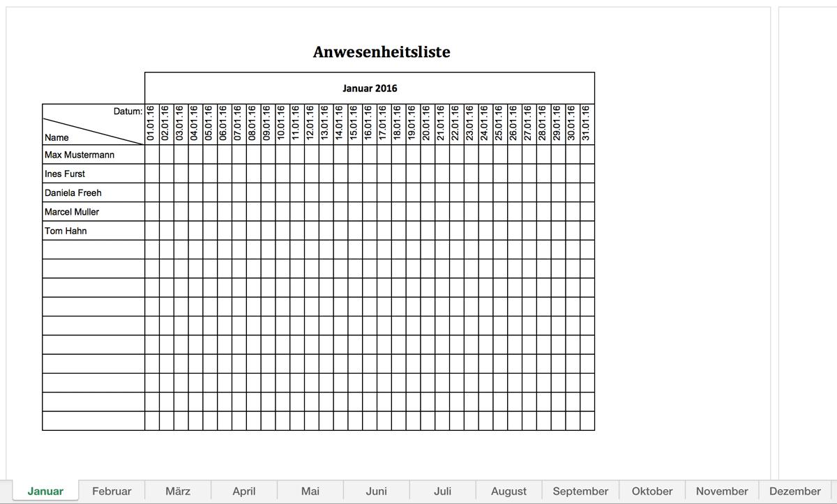 Anwesenheitsliste für 2016 mit allen Monaten in Excel