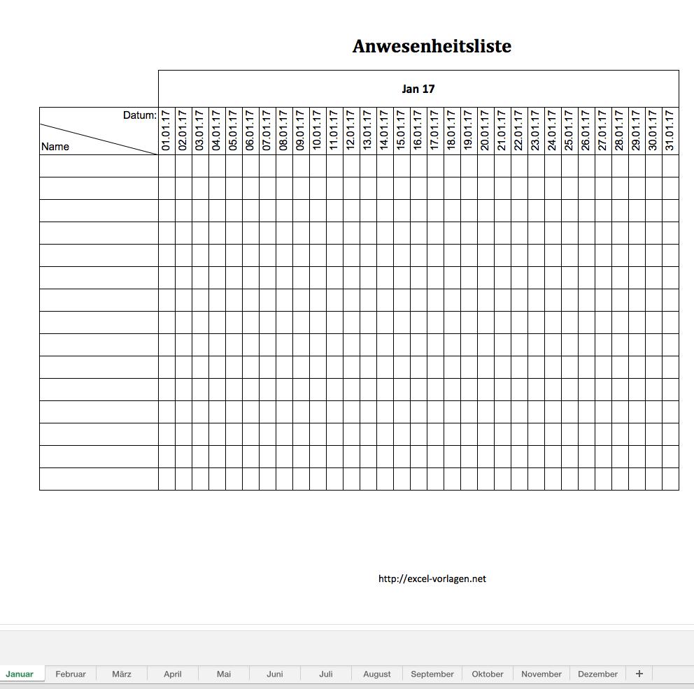 Excel Vorlage Anwesenheitsliste kostenlos | Excel Vorlagen für jeden ...