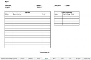 Neue Version des Haushaltsbuchs für Excel