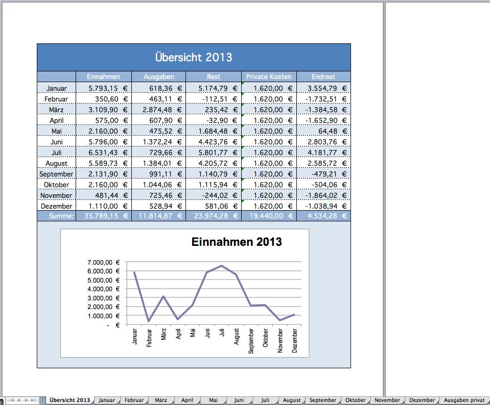 Excel-Vorlage für die Umsatzsteuervoranmeldung