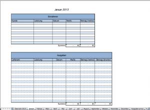 Erfassung der Einnahmen und Ausgaben pro Monat