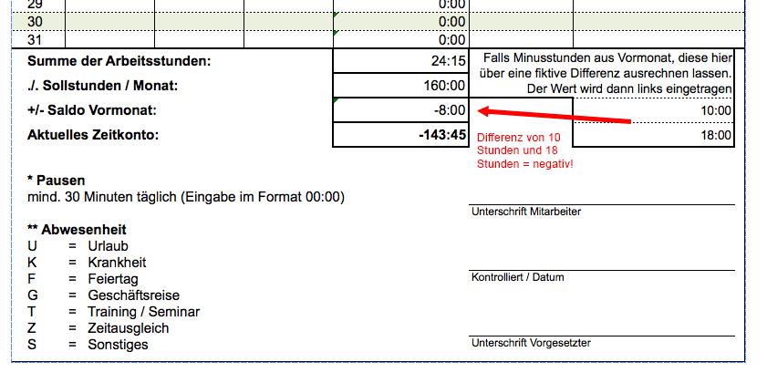 Excel Vorlage für eine kostenlose Arbeitszeiterfassung | Excel ...