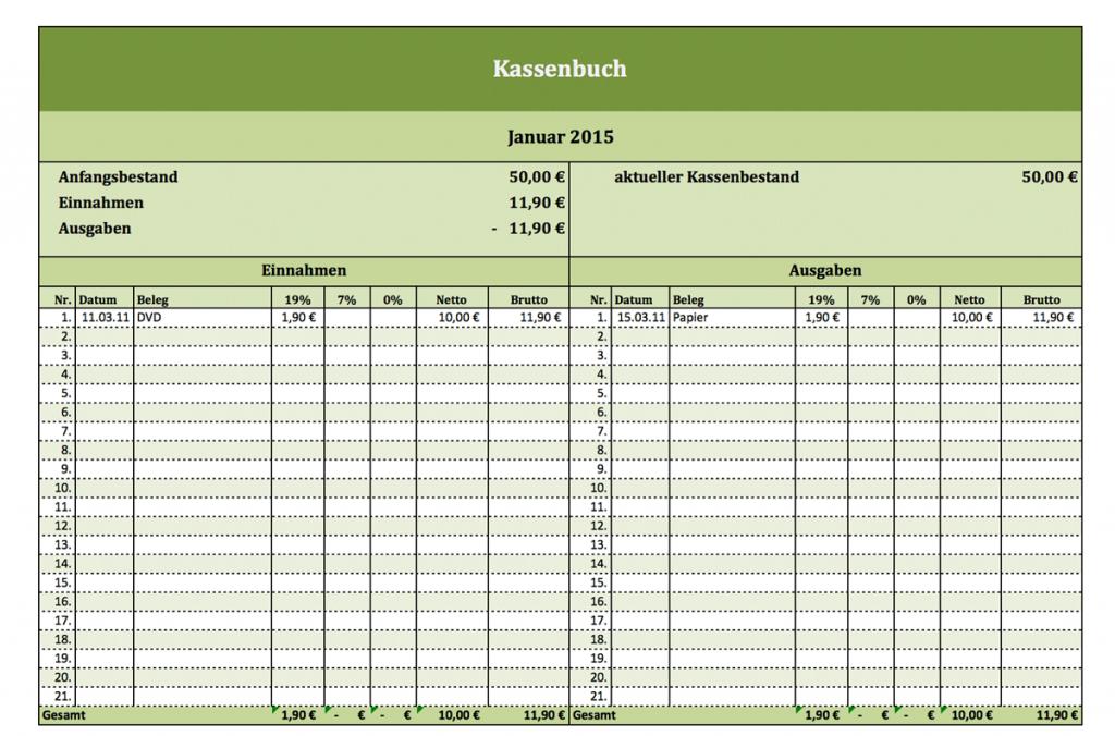 Kassenbuch-Vorlage mit Mehrwertsteuer