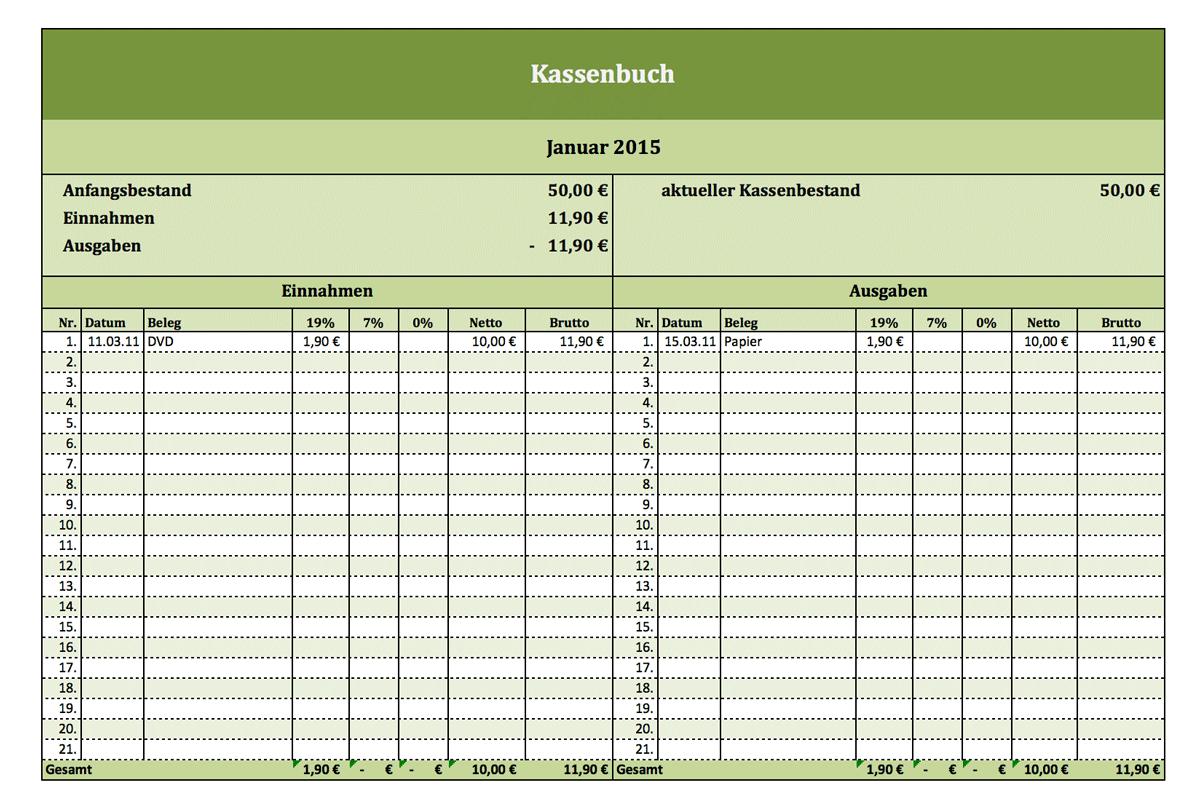 Kassenbuch Excel Vorlage   Vorlage und Muster