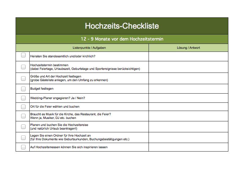 Checkliste Hochzeit | Excel Vorlagen für jeden Zweck