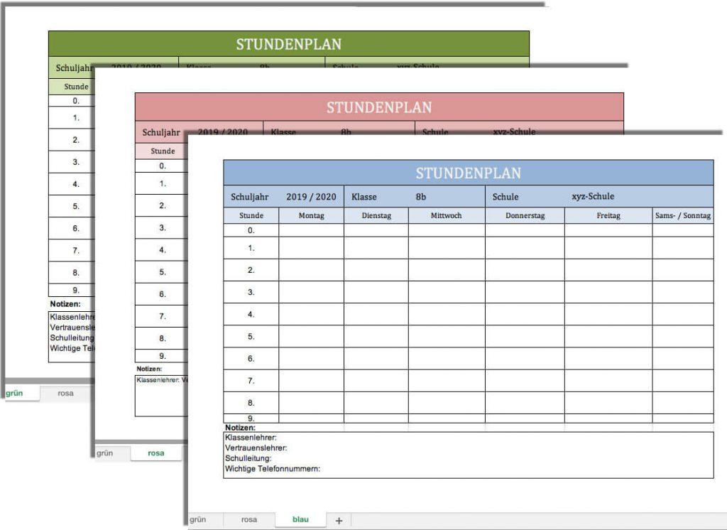 Stundenplan Excel