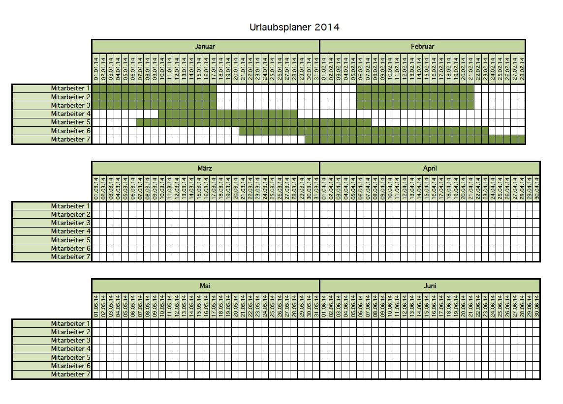 Kalender Urlaubsplanung als Excel-Vorlage kostenlos