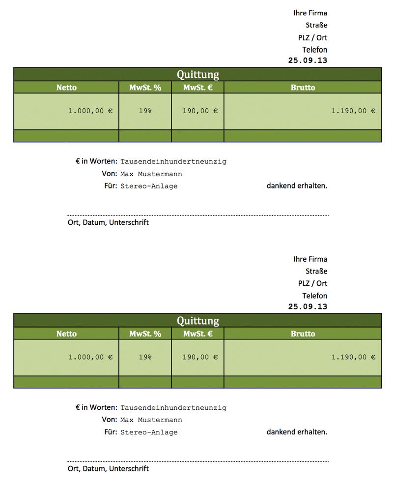 rechnung vs quittung