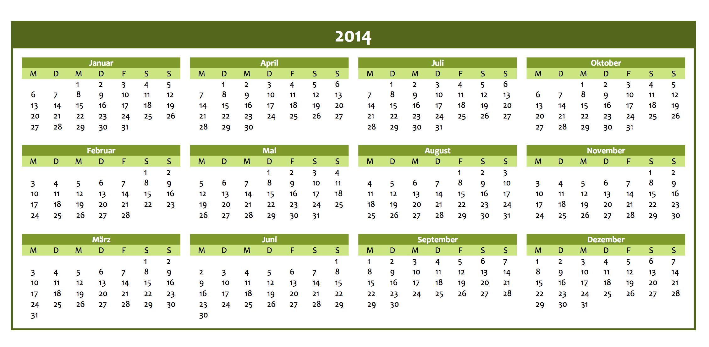 Kalender | Excel Vorlagen für jeden Zweck