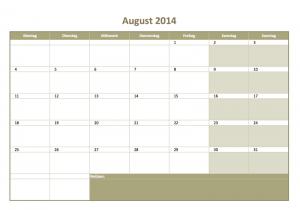 Excelvorlage für einen Monats-Kalender 2014