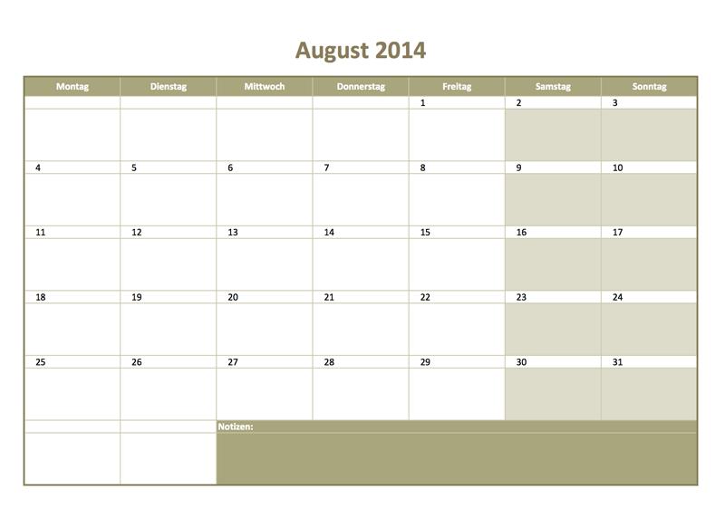 Monats-Kalender 2014 kostenlos zum Ausdrucken als Excelvorlage ...