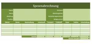 Screenshot der Excelvorlage Spesenabrechnung
