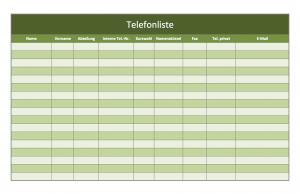 Screenshot der Telefonliste als Excel-Vorlage