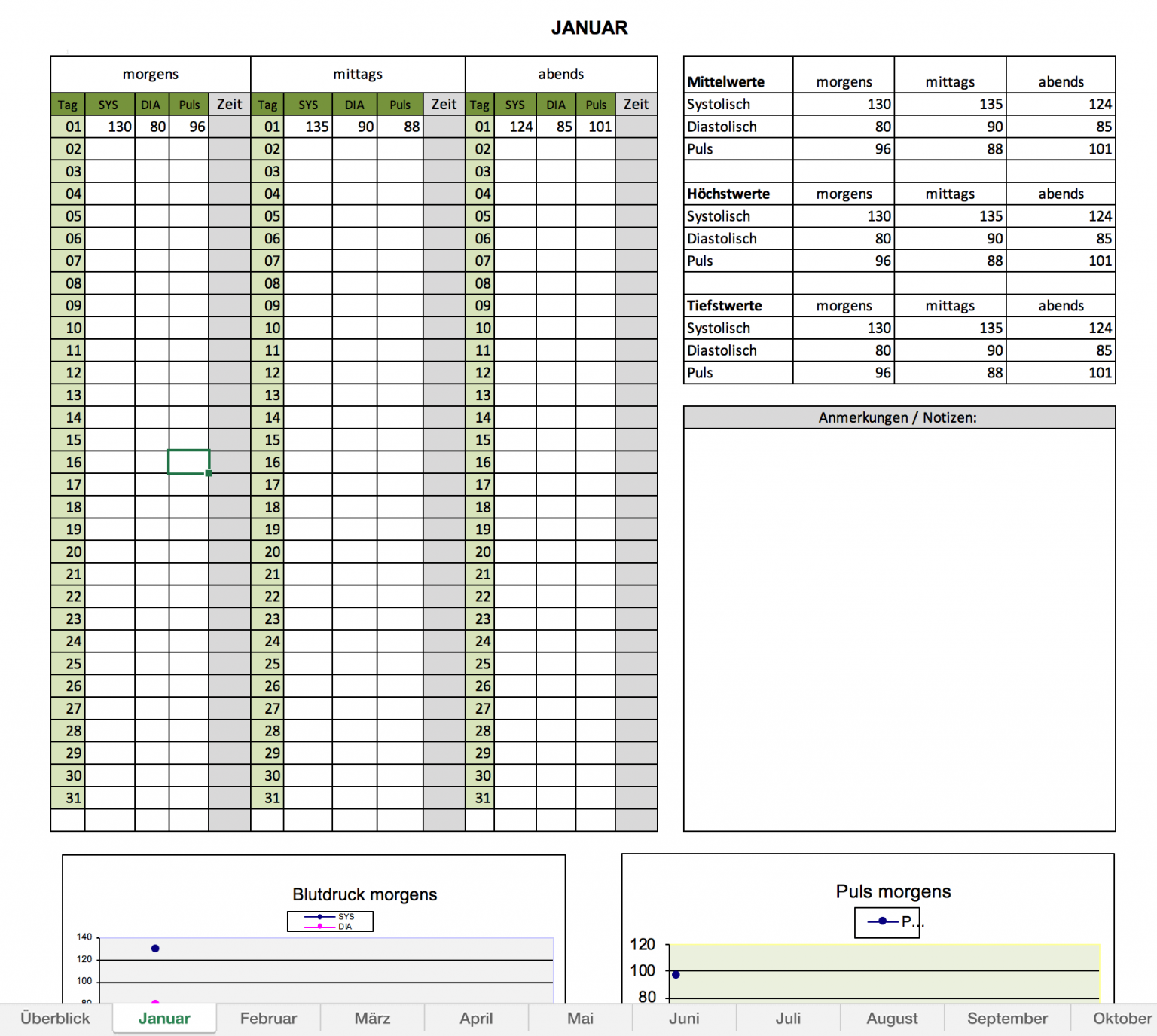 Excelvorlagen mit Blutdruck-Tabelle inkl. Puls und Mittelwert