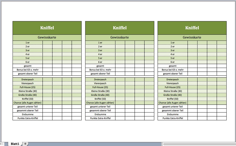 Vorlage Für Kniffel Excel Vorlagen Für Jeden Zweck