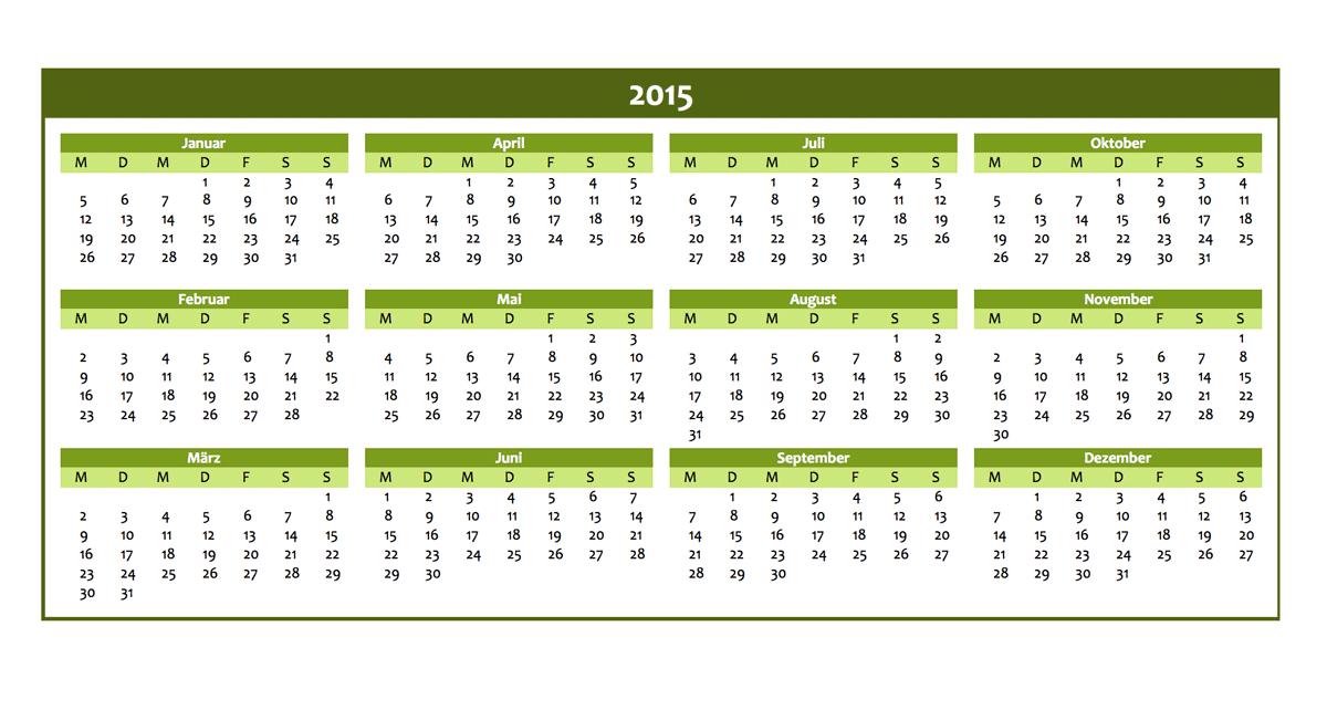 Jahreskalender 2015 zum kostenlosen Download | Excel Vorlagen für ...