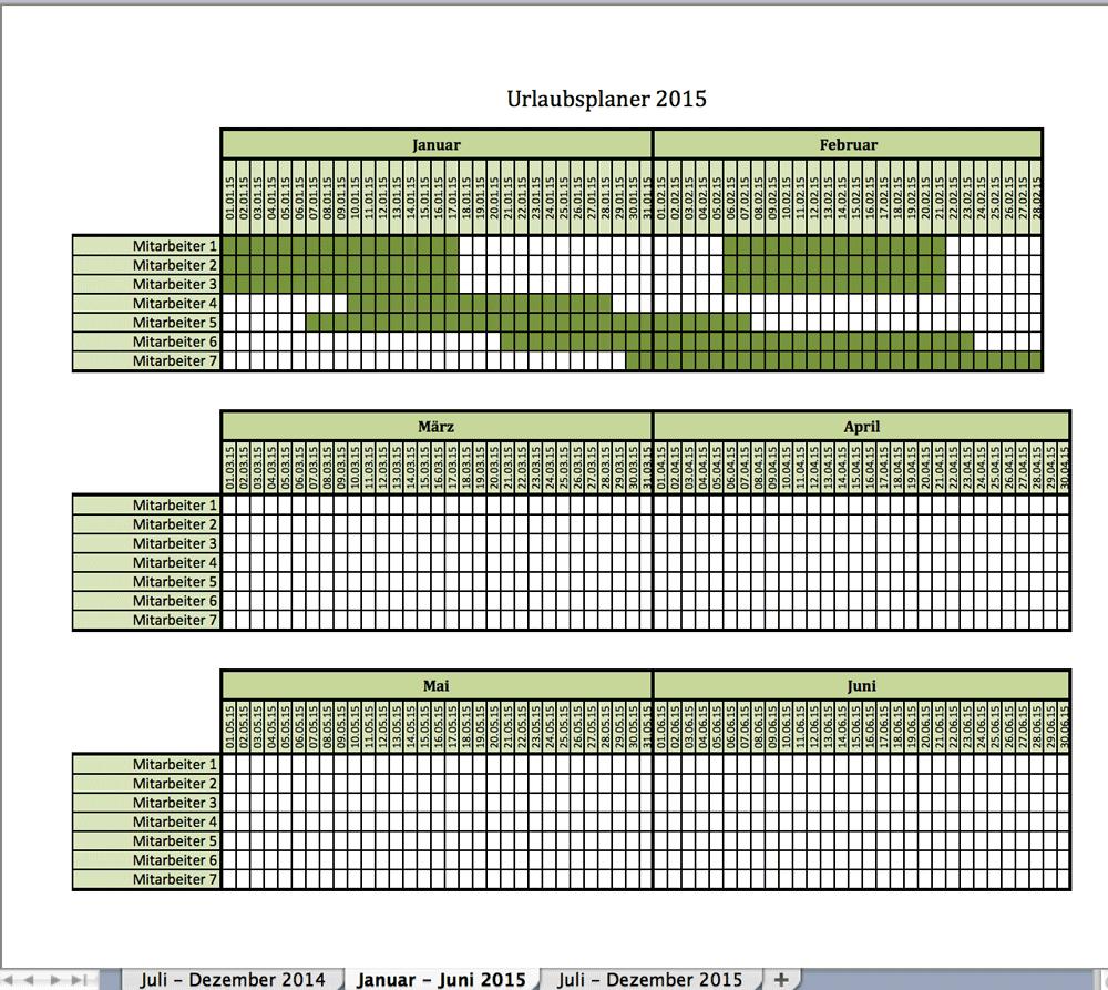 Urlaubsplaner mit Excel für 2015