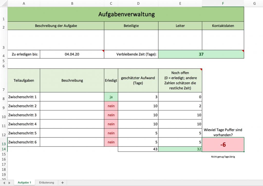 Aufgabenverwaltung mit Excel