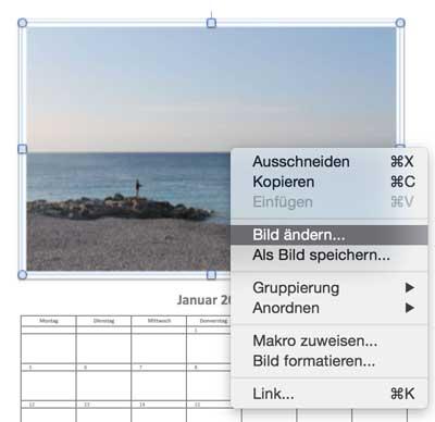 Im Fotokalender 2015 das Bild ändern