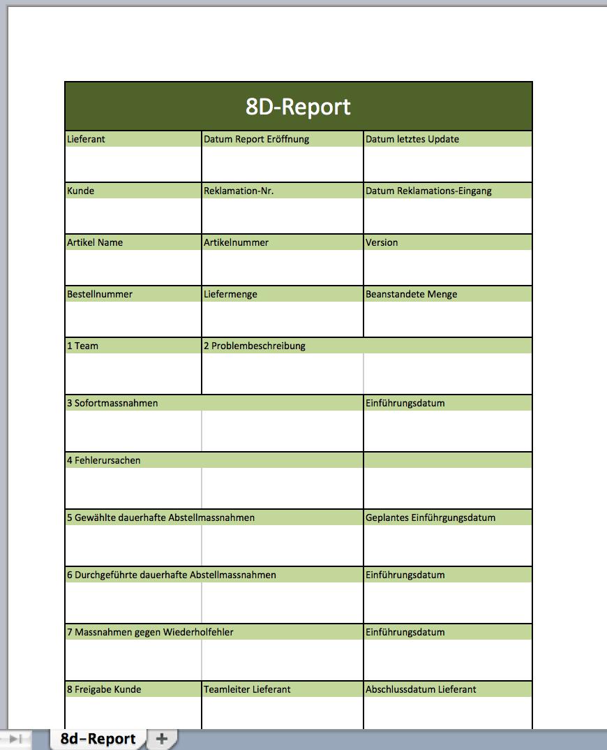 8d form template - 8d report mit einer excel vorlage excel vorlagen f r