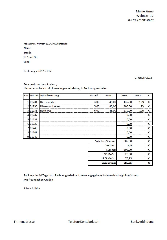 Rechnungsmuster Kostenlos