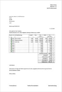 Rechnungsvorlage 16 & 5 Prozent