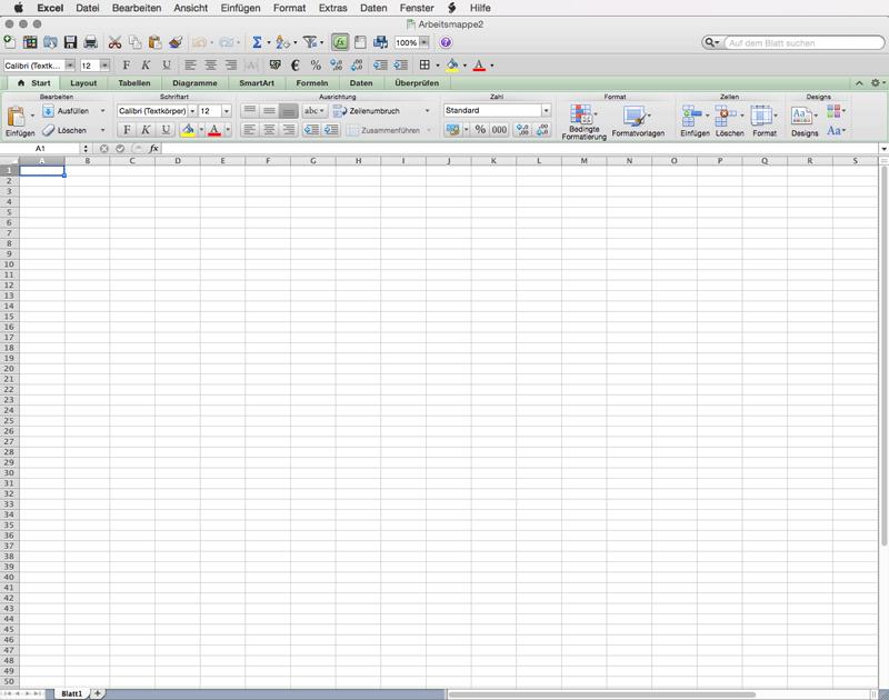 Excel 2011 Mac öffnen - Excelvorlage erstellen