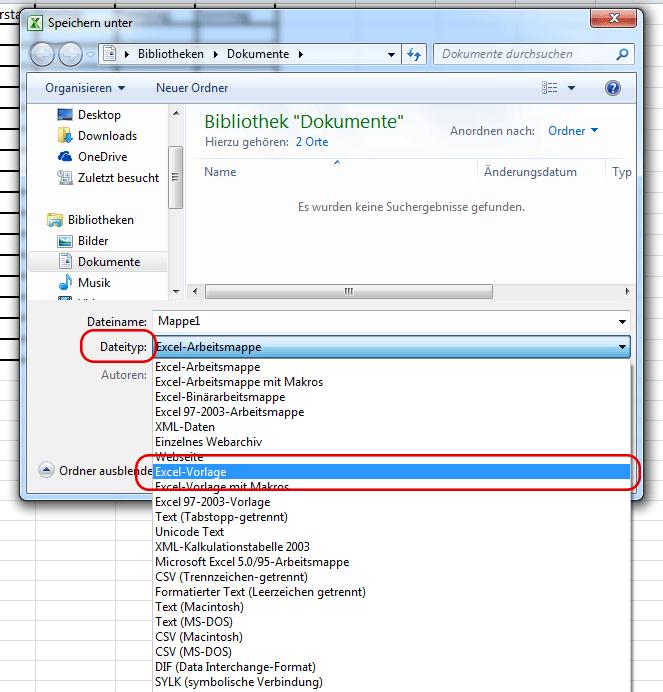 Dateityp festlegen in Office 2010