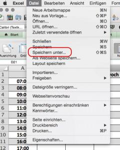 Datei speichern unter für Excelvorlage