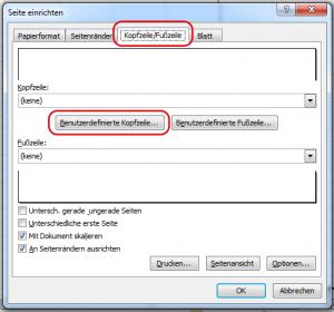 Excel 2010 Kopfzeile anpassen