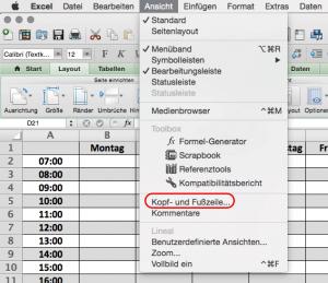 Kopfzeile bearbeiten mit Excel 2011