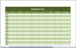 Mitgliederliste mit einer Excel-Vorlage