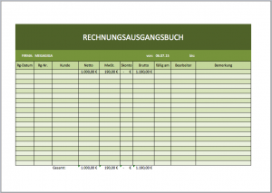 Für das FA ein Rechnungsausgangsblatt als Excel-Vorlage