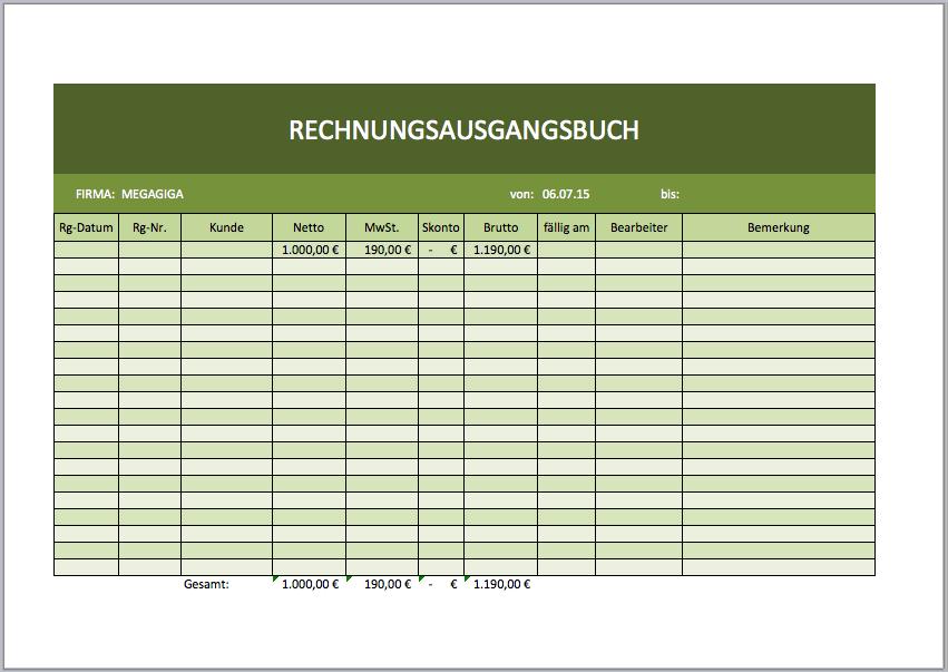 Rechnungsausgangsbuch Als Excelvorlage Excel Vorlagen Für Jeden Zweck