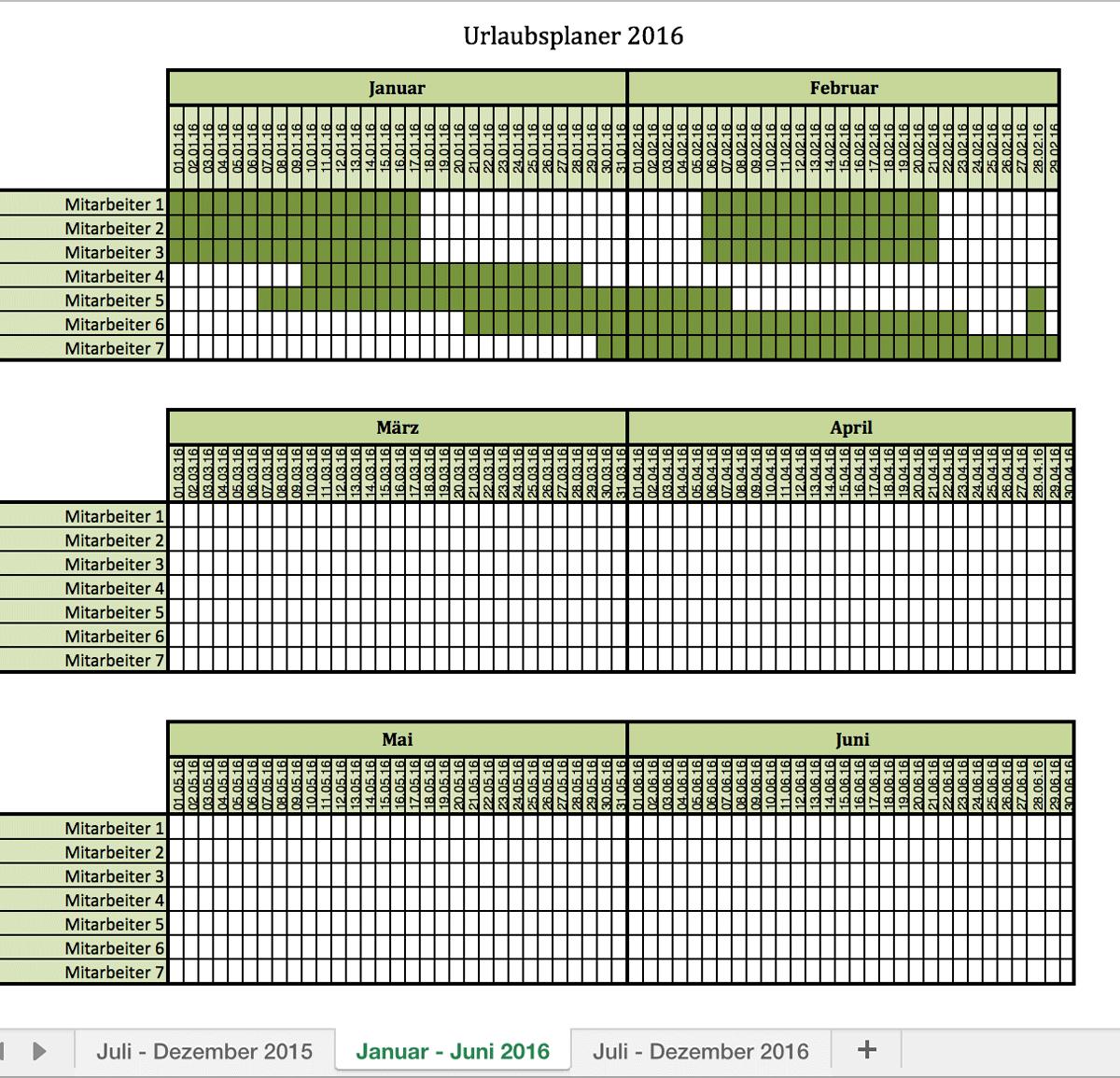 Urlaubsplaner 2016 | Excel Vorlagen für jeden Zweck
