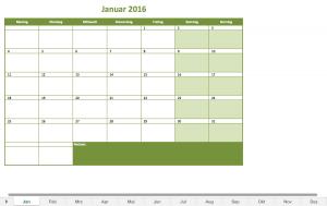 Monatskalender 2016 als Excelvorlage