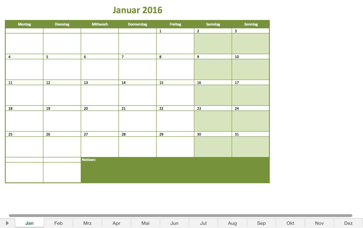 Monatskalender 2016 | Excel Vorlagen für jeden Zweck