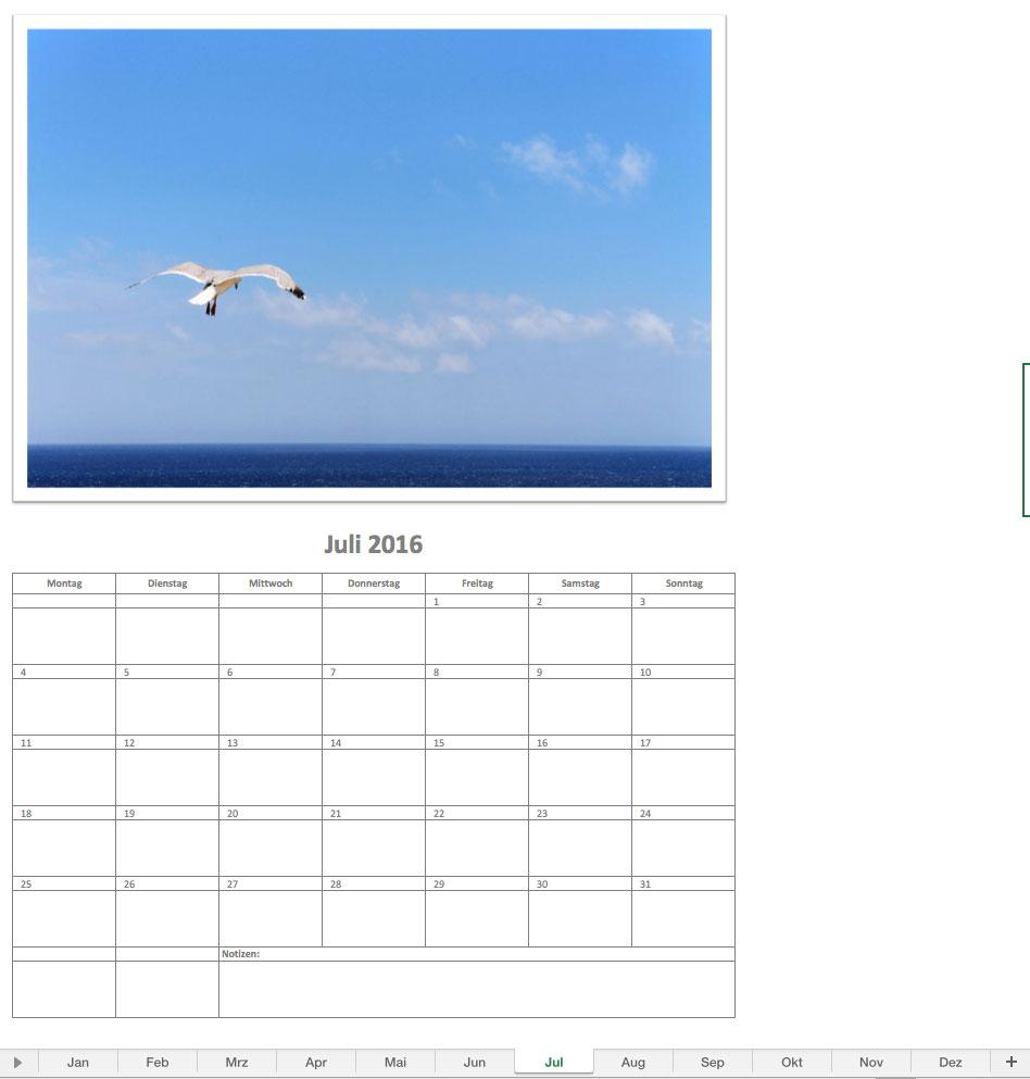 Fotokalender | Excel Vorlagen für jeden Zweck