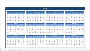 Excel-Jahreskalender 2016 in blau