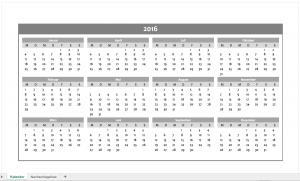 Farblich neutraler Jahreskalender 2016 als Excelvorlage