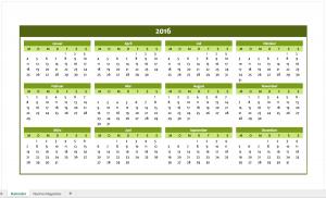 Jahreskalender 2016 in grün für Excel