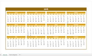 Jahreskalender 2016 in orange