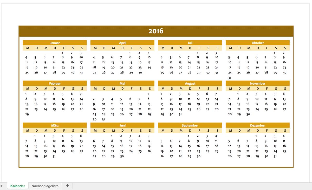 Jahreskalender 2016 für Excel | Excel Vorlagen für jeden Zweck