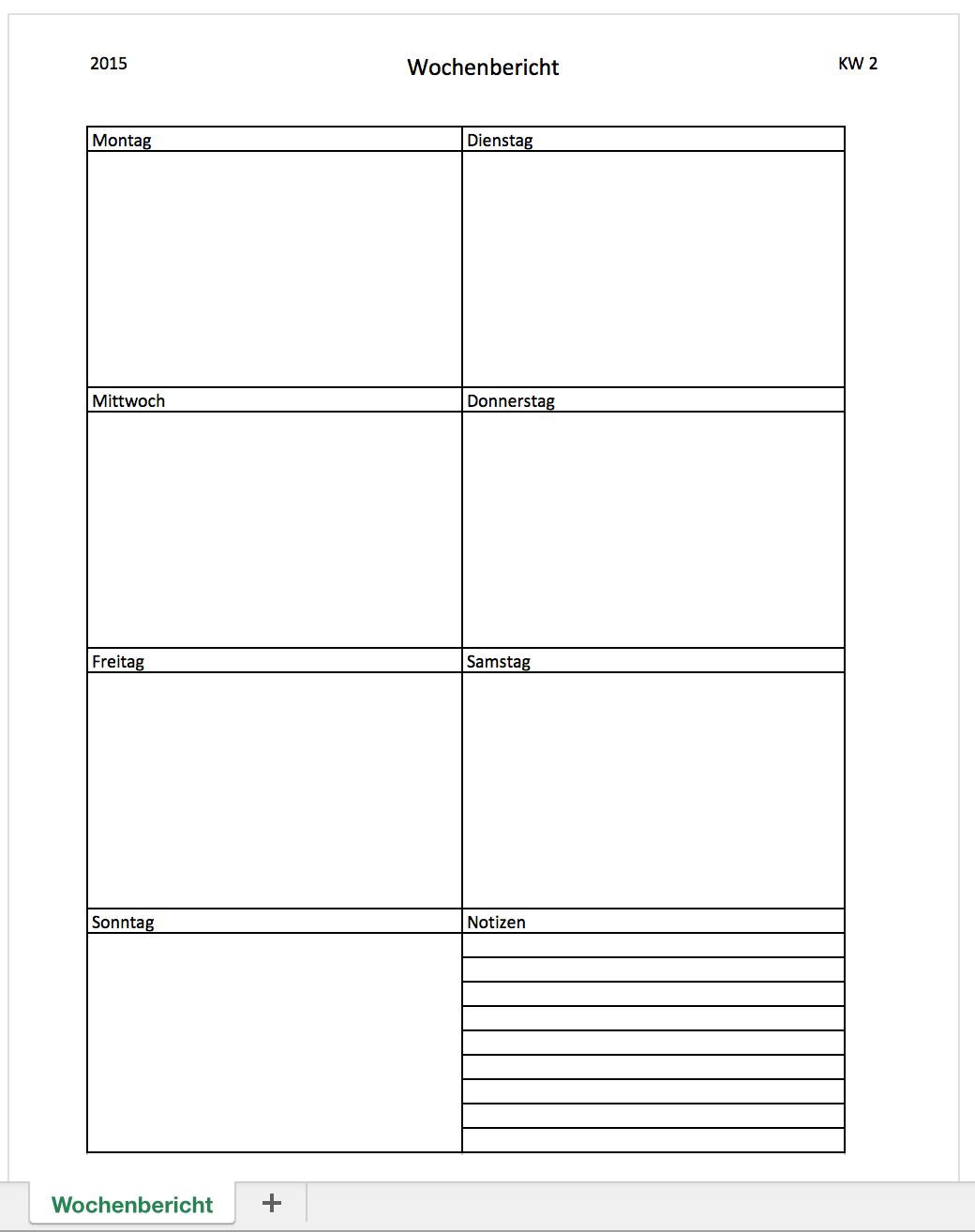 Wochenbericht mit einer Excelvorlage