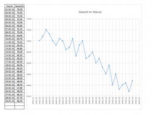 Gewichtserfassung mit Excel über das Jahr 2016